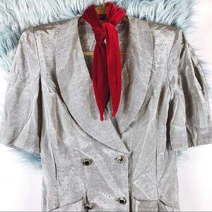 Vtg 80s Metallic Diamond Print Gray Wiggle Dress M